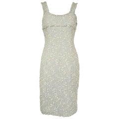 Chanel Light Blue Patel Tweed Dress - Size FR 36