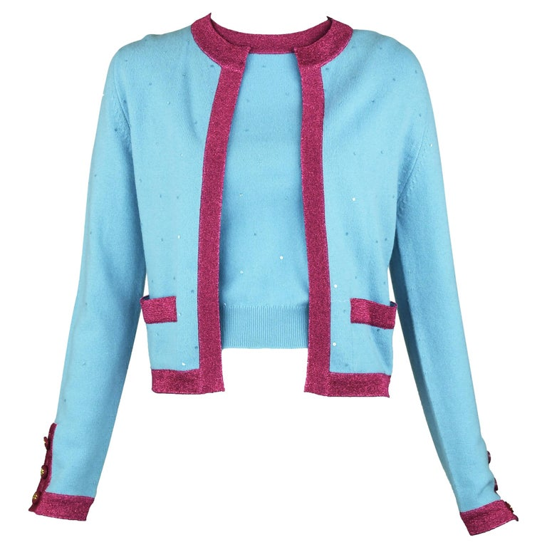 Chanel Light Blue Sweater with Sequins and Pink Metallic Trim - Size FR 38 For Sale