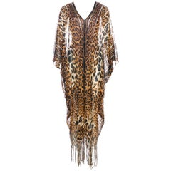 Tom Ford for Yves Saint Laurent Cheetah Silk Fringed Sexy Caftan, S / S 2002