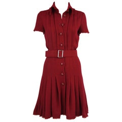 Chanel Maroon Pleated Dress