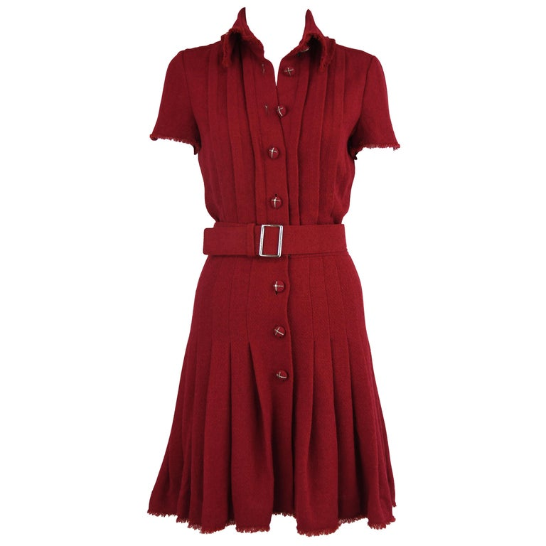 Chanel Maroon Pleated Dress  For Sale