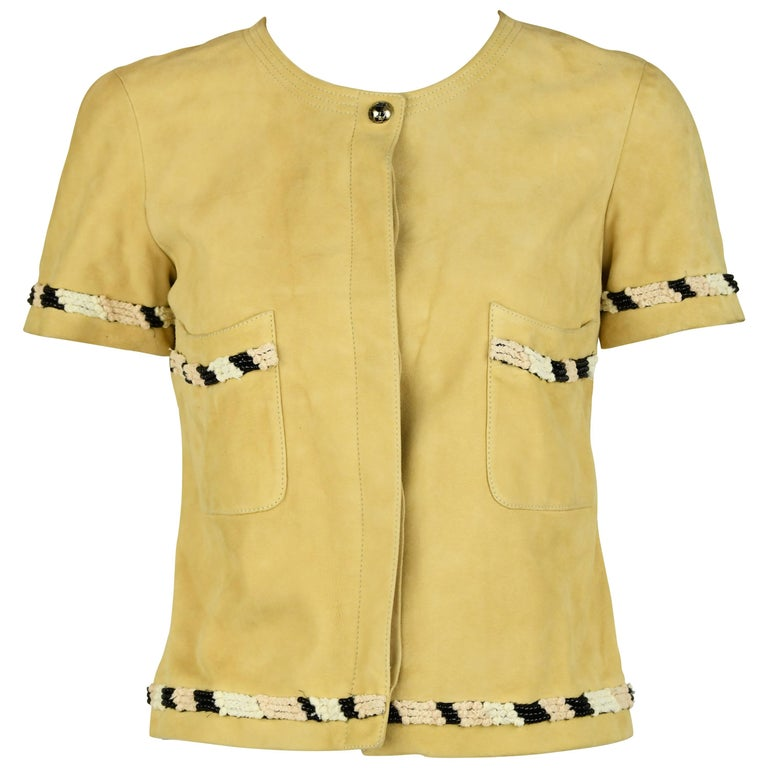 Chanel Tan Suede Top - Size FR 38 For Sale