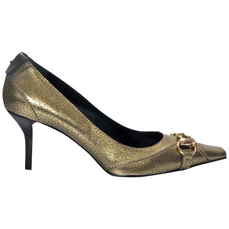 Gucci Gold Horsebit Pumps Runway Heels