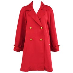 Chanel Vintage Red Rain Coat with Gold Buttons - Size FR 34