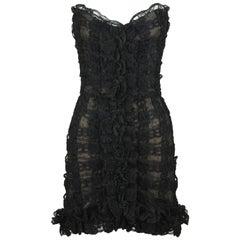 Vintage Chanel Black Strapless Lace Dress - Size FR 40