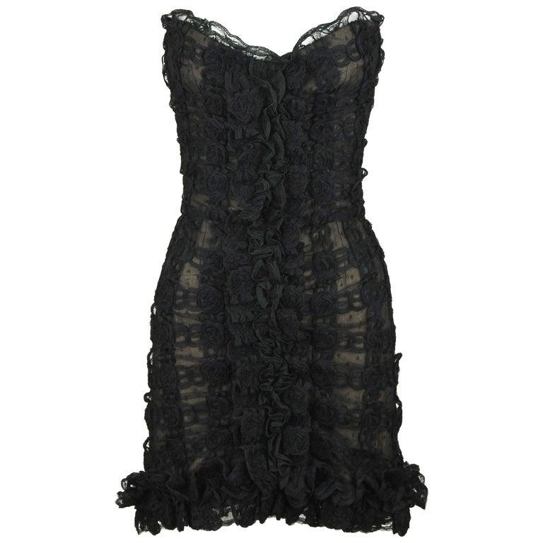 Vintage Chanel Black Strapless Lace Dress - Size FR 40 For Sale