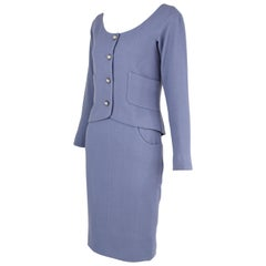 Vintage Chanel Lilac/Gray Suit with Rhinestone Buttons - Size FR 36