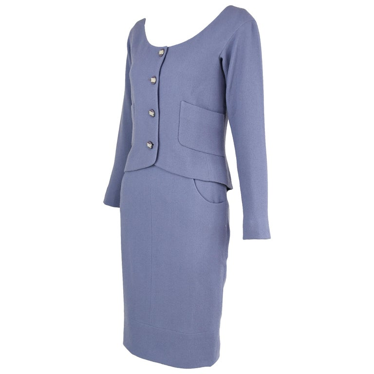 Vintage Chanel Lilac/Gray Suit with Rhinestone Buttons - Size FR 36 For Sale