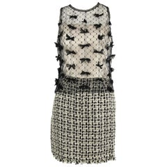 Vintage Chanel Tweed and Tulle Dress with Bows - Size FR 36