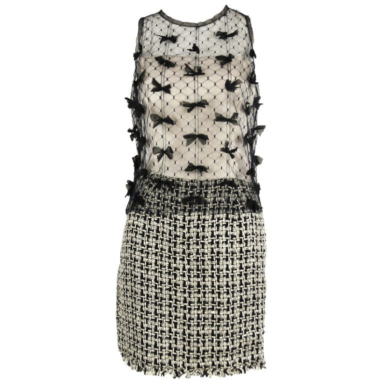 Vintage Chanel Tweed and Tulle Dress with Bows - Size FR 36 For Sale