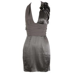 Versace Gray Charmeuse Halter Dress - Size IT 38
