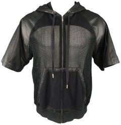 SKINGRAFT M Black Mesh & Leather Short Sleeve Hoodie Jacket