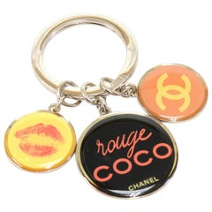 Chanel Rouge Coco  Silver-tone & Multicharm Key Ring/Chain