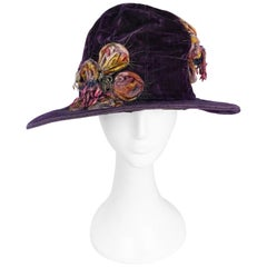1920s Purple Velvet Cloche With Flower Accent Pieces