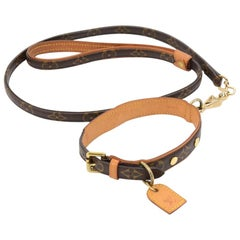 Louis Vuitton Laisse PM + Collier Baxter MM Monogram Canvas Dog Leash and Collar