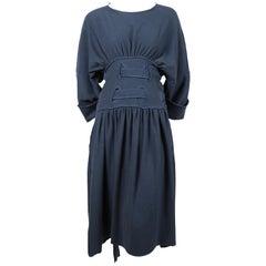 1980's MICHELE LAMY teal cotton dress