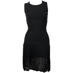 Azzedine Alaïa black sleeveless knit dress with sheer hem, 1990s