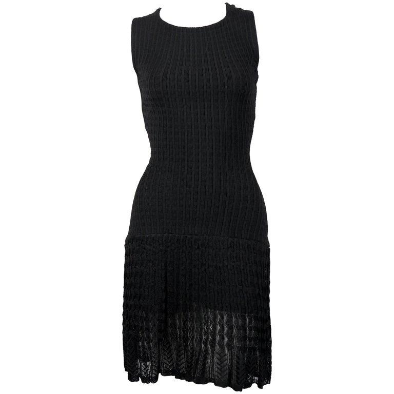 Azzedine Alaïa black sleeveless knit dress with sheer hem, 1990s