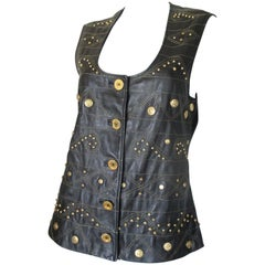 sleeveless studded leather vest