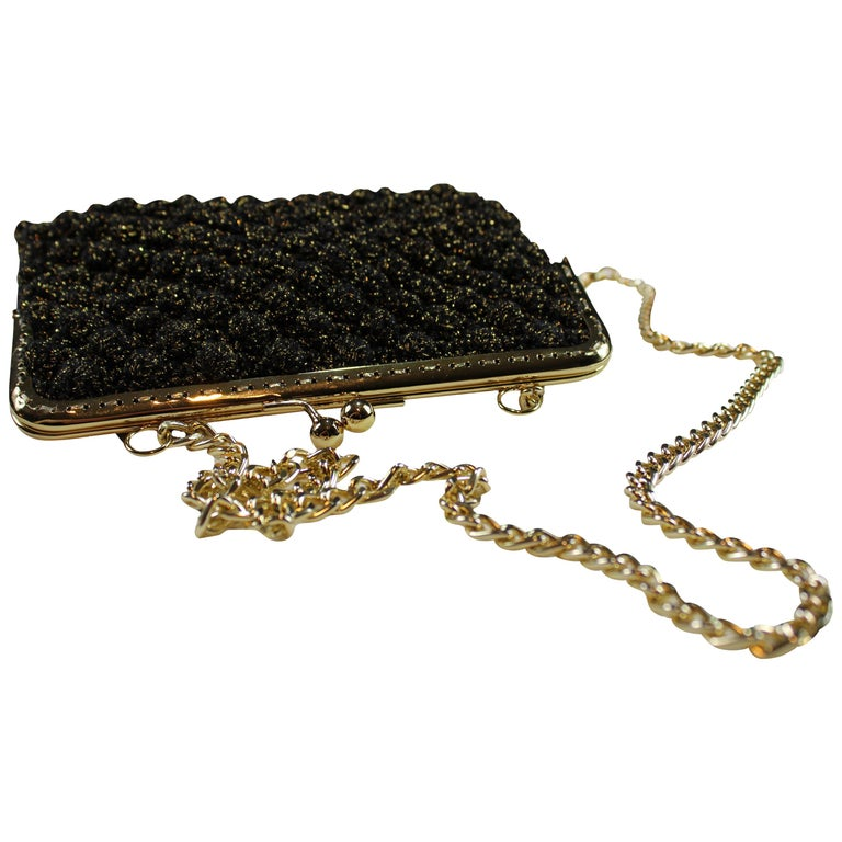 Italian Black  Hand Woven Crossbody Handbag