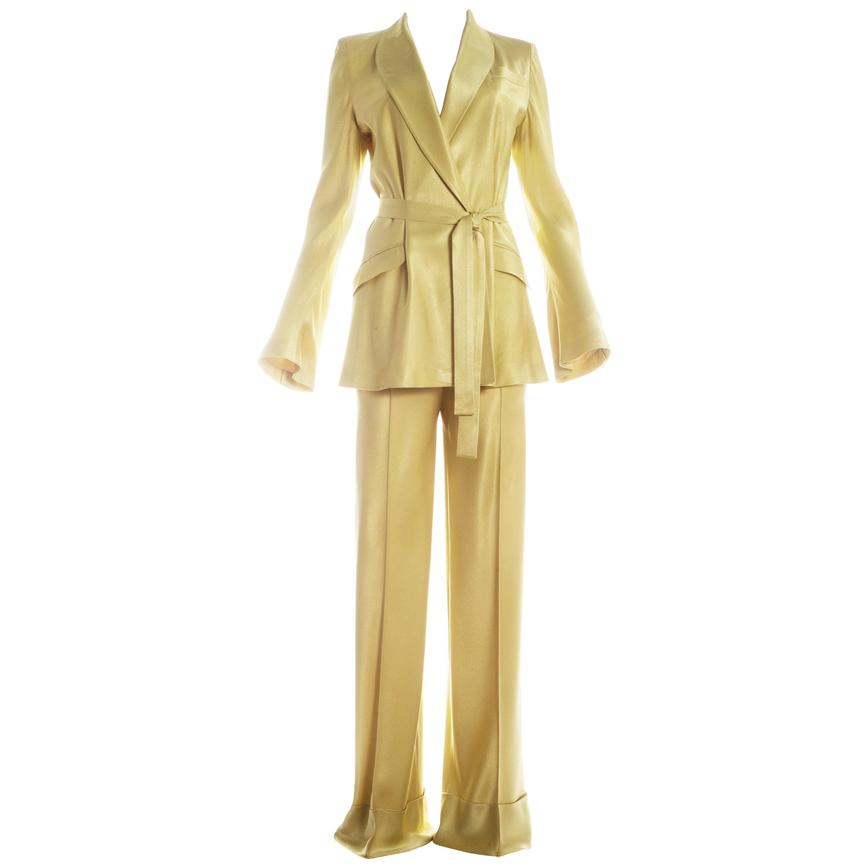 John Galliano yellow satin flared evening pant suit, circa 1995 - 1999