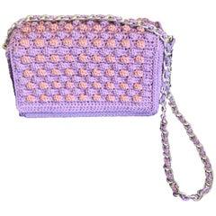 Italian Violet Woven Crossbody Handbag