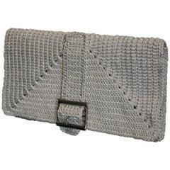 Italian Grey Hand Woven Clutch Handbag