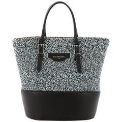 Balenciaga Convertible Shopper Tote Leather and Woven Fabric Small