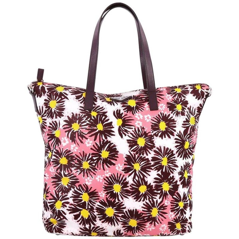 Prada Convertible Tote Printed Tessuto With Saffiano Large For Sale