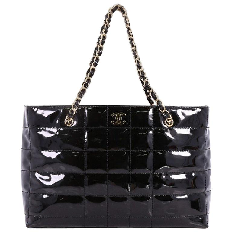 Chanel Vintage Chocolate Bar Tote Quilted Patent Large at 1stdibs 7493cd368d