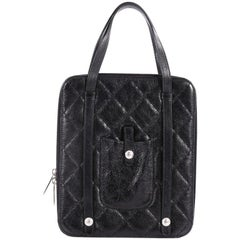 Chanel iPad Top Handle Bag Quilted Glazed Calfskin Medium