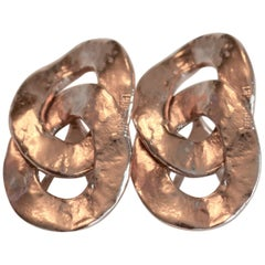 Goossens Paris Rose Gold Hammered Fixed Oval Clip Earrings