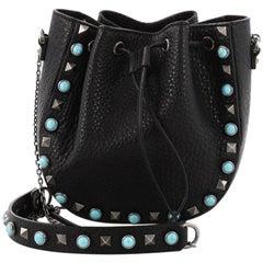 Valentino Rockstud Drawstring Bucket Bag Leather Mini
