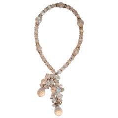 Francoise Montague Vintage Glass and Swarovski Crystal Lariat Necklace