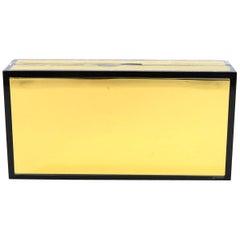 Jimmy Choo Black & Gold Minaudiere Box Clutch