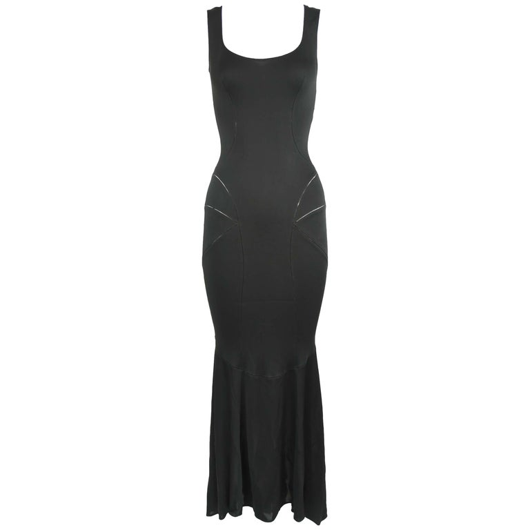 Vintage Alaia Black Tea Length Gown - Size S For Sale