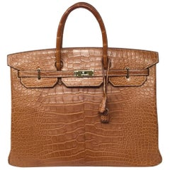Hermes Paris Sac Gold Matte Alligator Leather Birkin 40 Bag, 2012