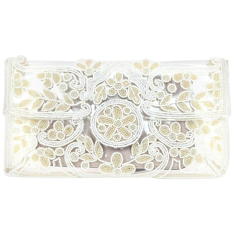 Valentino Clear PVC and White Beaded Clutch Bag