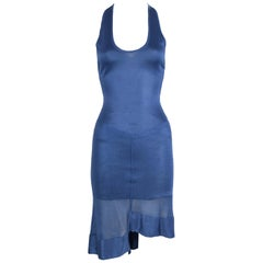 Vintage Alaia Blue Knit Sleeveless Dress - Size XS