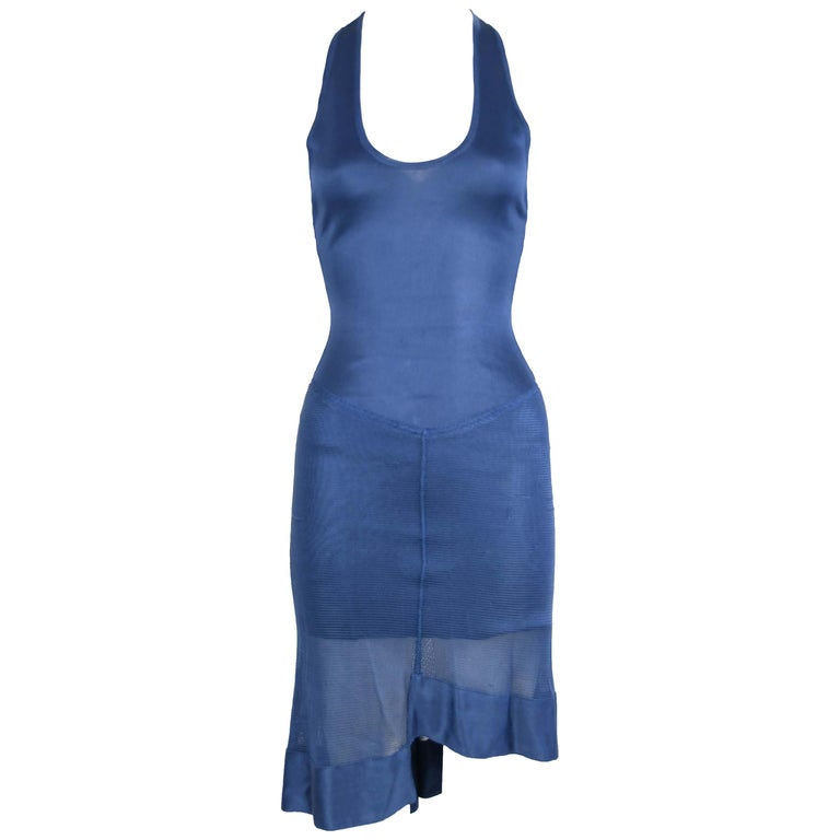 Vintage Alaia Blue Knit Sleeveless Dress - Size XS For Sale