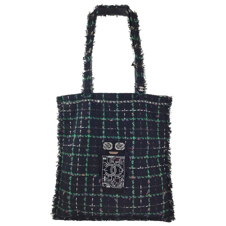 7c0cb340a415 Chanel Tweed Shopping Tote w  Robot