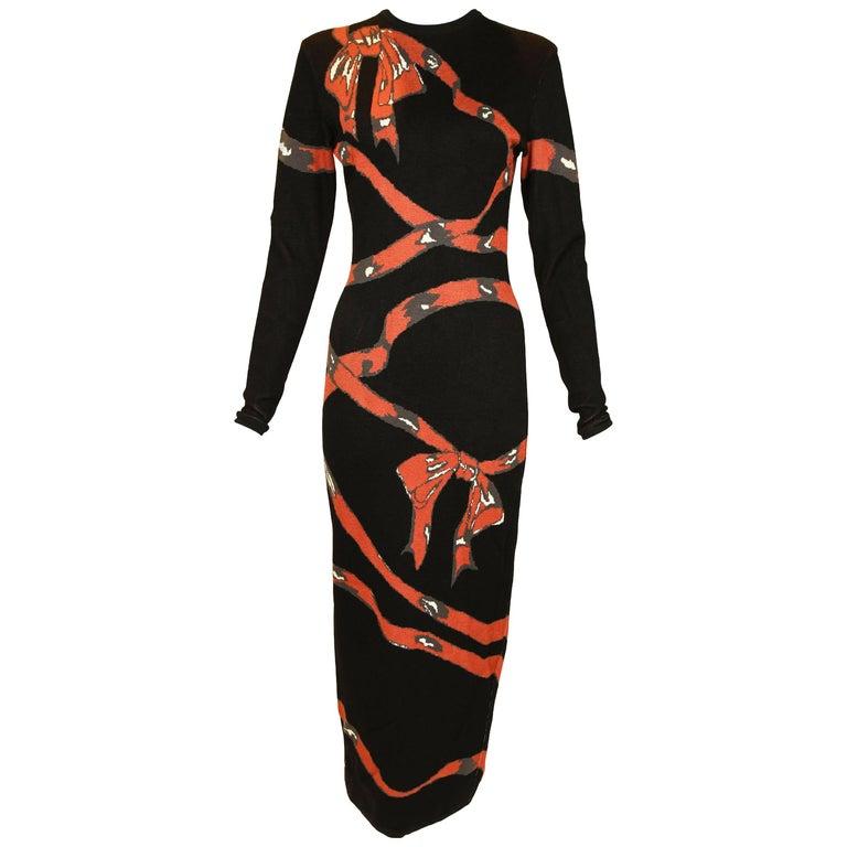 Vintage Alaia Bow Print Dress - Size XS For Sale
