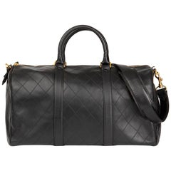 1990s Chanel Black Quilted Lambskin Vintage Timeless Boston 45