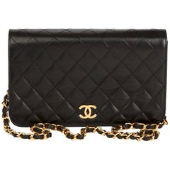 1990s Chanel Black Quilted Lambskin Vintage Small Classic Single Full Flap Bag