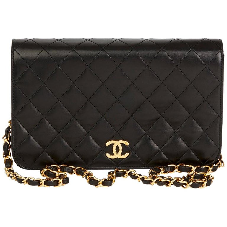 3d899e9843a955 1990s Chanel Black Quilted Lambskin Vintage Small Classic Single Full Flap  Bag For Sale