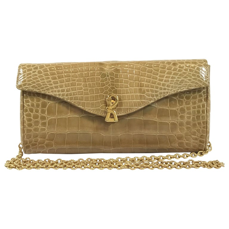 Roberta di Camerino Crocodile Clutch with Chain