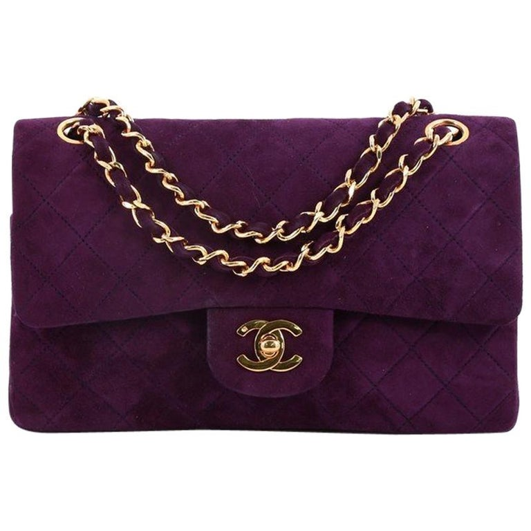 945a843a117c Chanel Vintage Classic Double Flap Bag Quilted Suede Small at 1stdibs