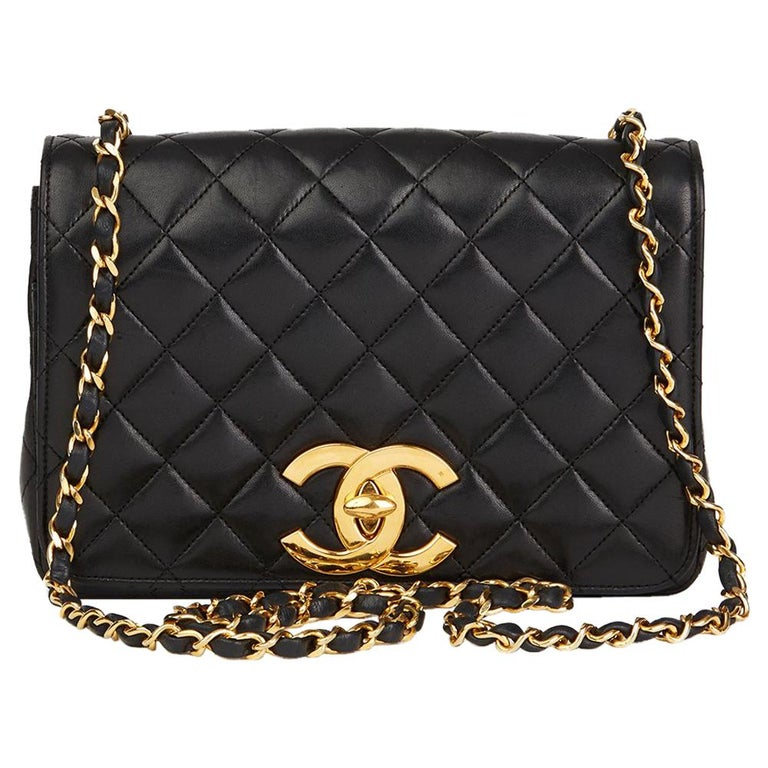 51e64ab0585487 1980s Chanel Black Quilted Lambskin Small Vintage XL Classic Single Flap Bag  For Sale