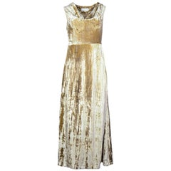 Co Beige Crushed Velvet Cowl-Neck Gown sz Small