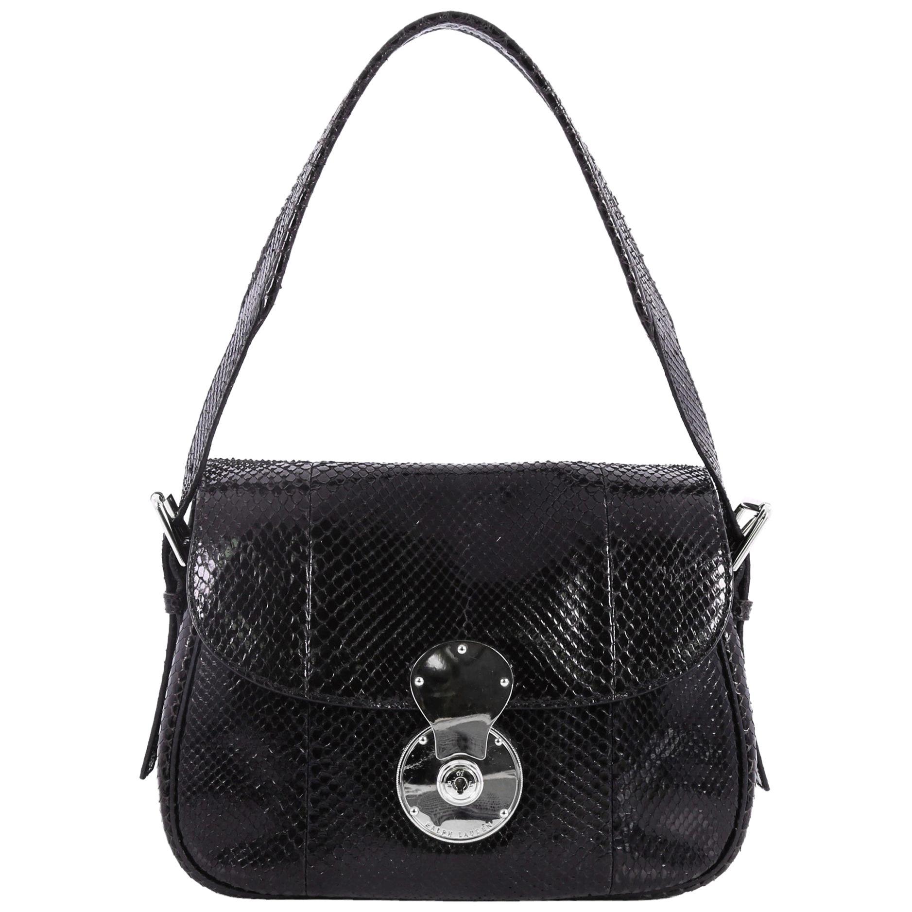 Ralph Lauren Collection Ricky Convertible Flap Bag Python Medium